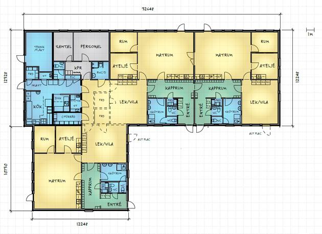 Planlösning för modulhuset Anneberg med tre avdelningar. Källa: www.flexator.se